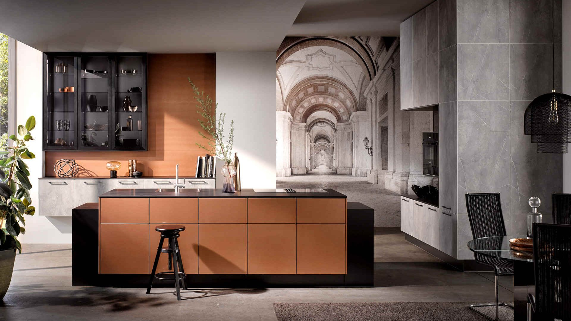 Häcker Küche   Grauer Marmor mit Kupferfronten - Küchentrends 2021
