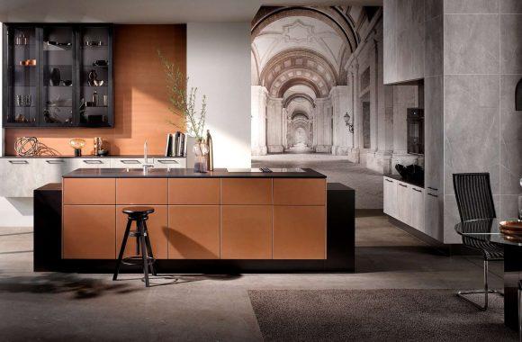 Designküche Kupfer mit grifflosen Fronten