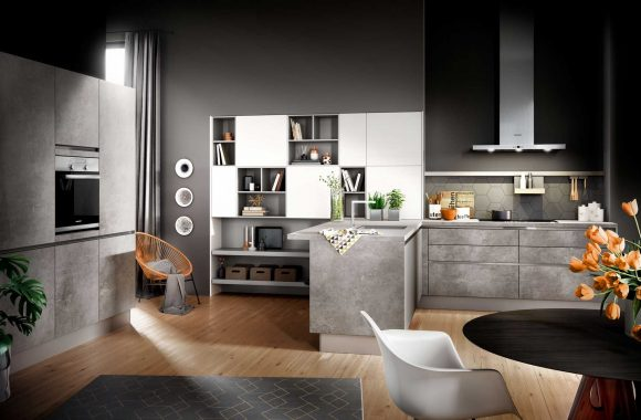 Moderne Küche aus Spachtelbeton