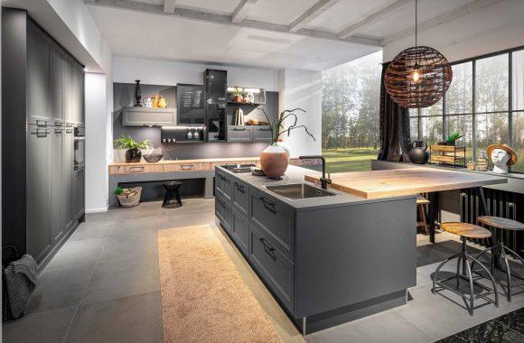 Landhaus Küche Koje Malaga Graphit Sommereiche