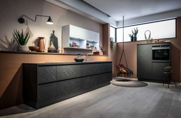 Merkur dunkle Marmor Häcker Küche